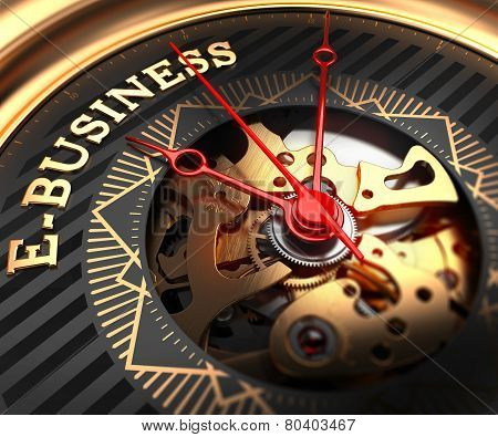 E-Business on Black-Golden Watch Face.