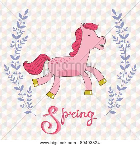 Spring concept card with cute running horse