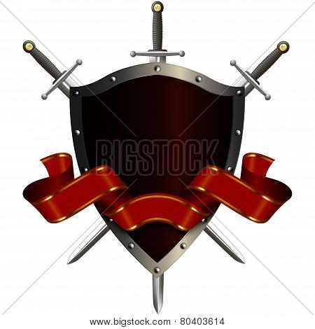 Medieval Shield With Swords And Red Ribbon.