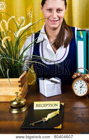 receptionist of hotel check in