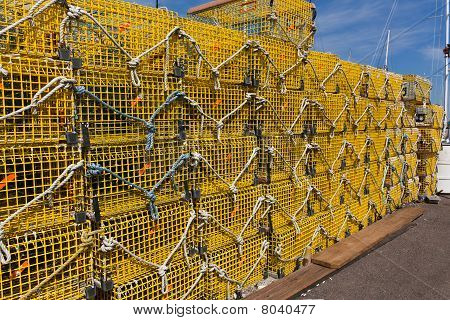 Commercial Lobster Cages On A Pier In New England