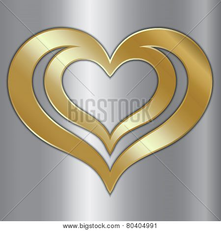 Vector abstract pair of golden hearts on silver background