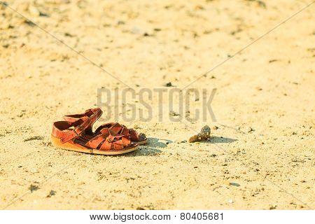 Female Brown Leather Sandals Footwear On Sandy Beach.