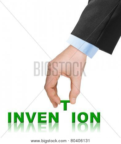 Hand and word Invention isolated on white background