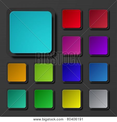 Vector modern colorful square icons set