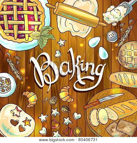 baking  beautiful hand-draw illustration