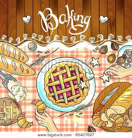 beautiful hand-draw illustration baking