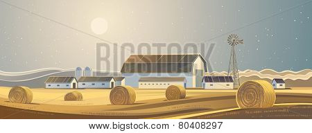 The ranch. Rural landscape with bales of hay.