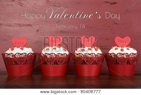 Happy Valentines Day Row Of Red Velvet Cupcakes With Sample Text
