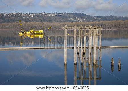 Dredging Boats In The Columbia River.