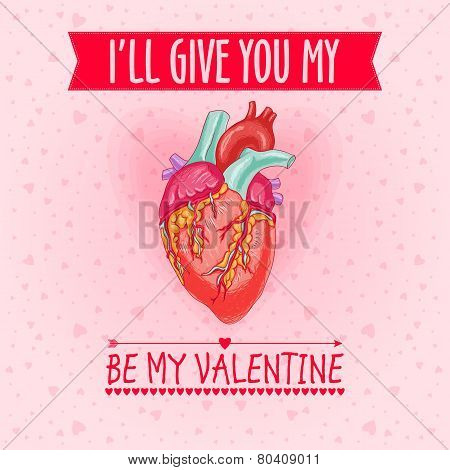 Happy Valentine's Day Card With Real Heart