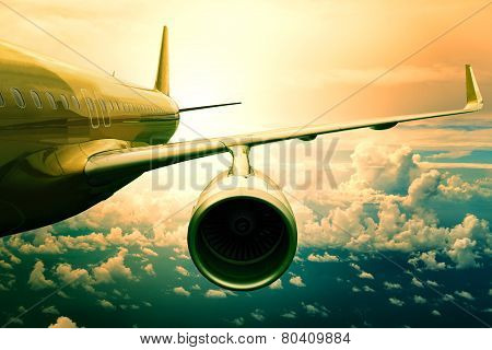 Passenger Jet Plane Flyin Above Cloud Scape Use For Aircraft Transportation And Traveling Business B