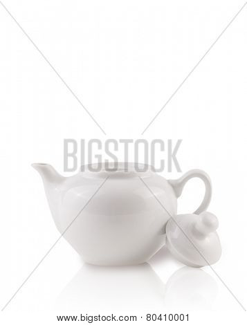 Coffee-pot with white copy space, isolated on white