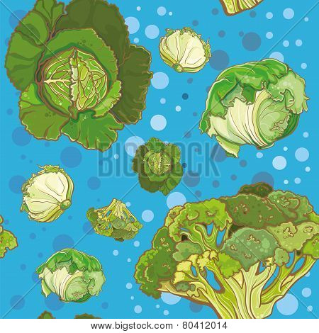 Seamless Pattern With Cabbage, Broccoli, Savoy