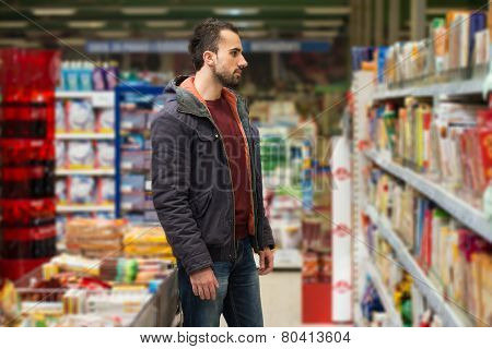 Man Shopping At The Supermarket