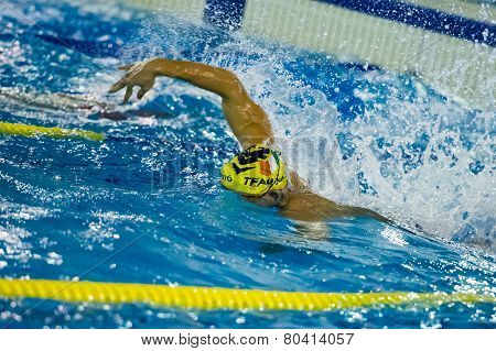 Milan - December  23:  M. Schirru  (italy)  Performing Freestyle  In  Swimming Meeting Brema Cup On