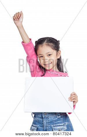 Asian little girl hold a blank sign fist up with success