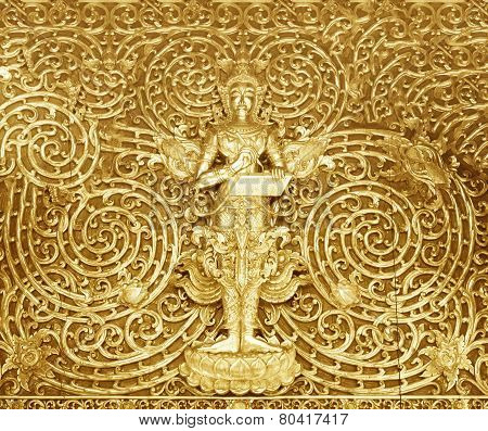 Wood Carving Buddhist Temple Door