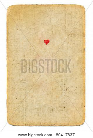 Antique Playing Card Ace Of Hearts Paper Background Isolated