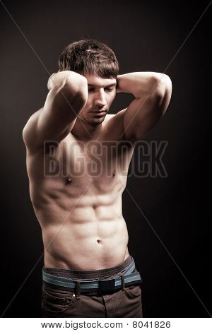 Sexy Shirtless Man With Muscular Abdomen