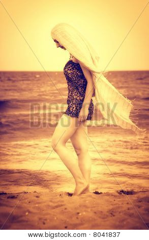 Peaceful Sensual Woman Walking On Beach Sand