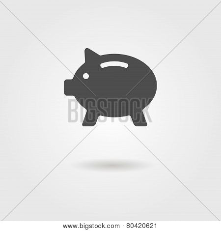 black piggy bank with shadow