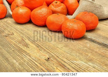 Ripe Moroccan Tangerines  In Burlap Bag