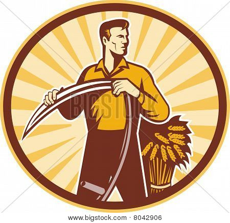 Farmer standing holding scythe and wheat crop