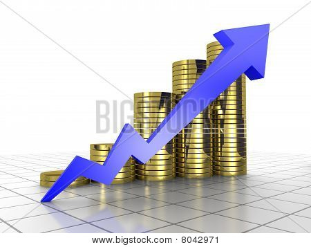 Business Graph, 3D Rendered Conceptual Arrow And Coin Chart