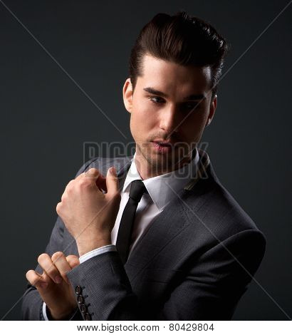Handsome Male Fashion Model Posing In Business Suit