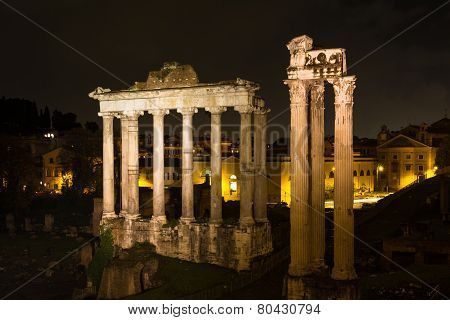 Temple Of Saturn And Vespasian At Night