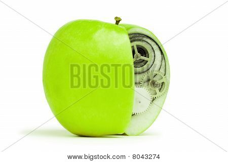 Fresh Green Apple With Mechanism Inside Concept
