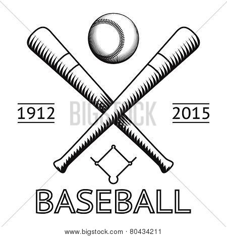 Baseball Logo Symbol Bat Ball Game Field Icon Isolated Vector Illustration