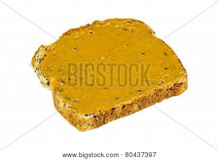 Isolated Whole Wheat Peanut Butter Toast Breakfast
