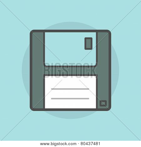 Floppy Disk Isolated On Blue Background