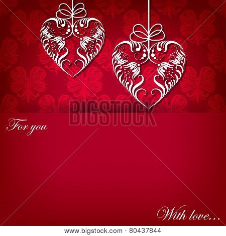 Creeting Card With Ornament With Hearts