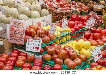 Fresh fruits in a greengrocery