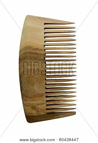 wooden comb, isolated on white background