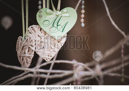 Hand Made Heart Shaped Card With Letters