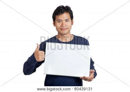Asian Man Smile  Thumbs Up With A Blank Sign