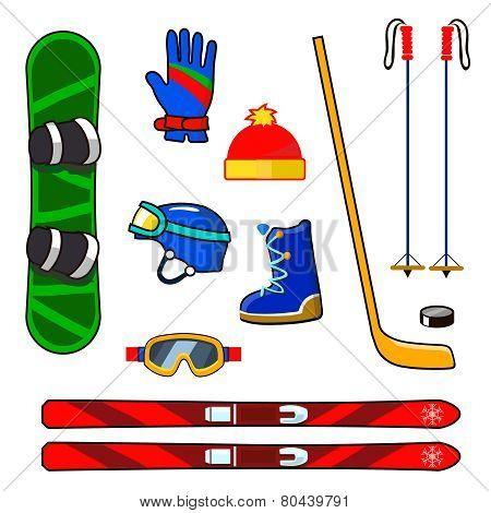 Winter sports equipment icons set