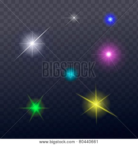 Stars and sparkles - collection of design elements on transparent background - vector
