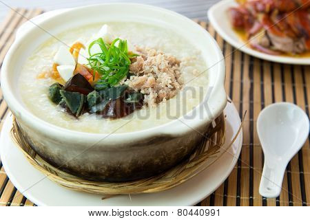 Salted And Preserved Egg Chicken Floss Congee
