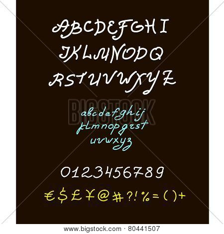 Retro vector brush script lettering font, handwritten calligraphic alphabet.