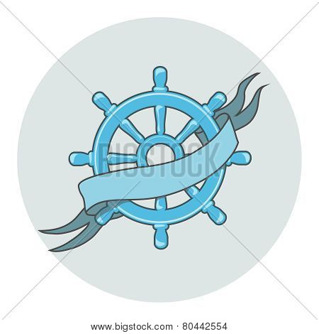 Ship Wheel Banner isolated  whith ribbon