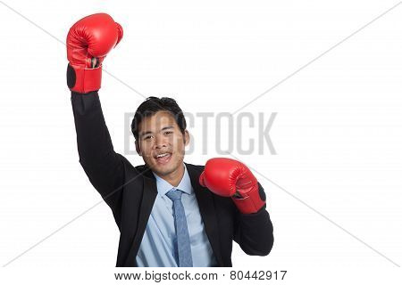 Asian Businessman Win Fight Fist Pump For Success