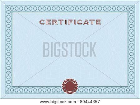 Blue Blank Certificate