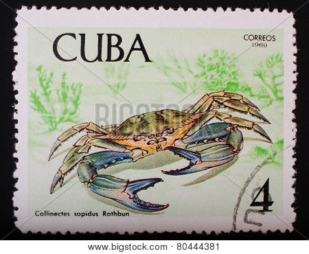 Cuba-circa 1969: Postage Stamp Printed In Cuba Shows A Color Image Underwater Creatures Blue Crab Fa