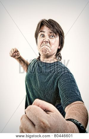 Kid Or Boy Angry And Aggressive In Fight Gesturing No Fear