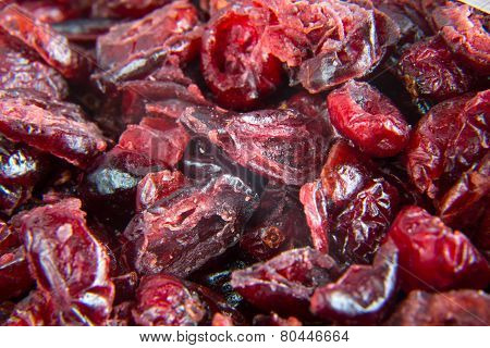 Close up of dried cranberry